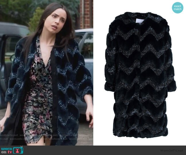 Metallic bouclé-trimmed faux fur coat by Ainea worn by Ava Jalali (Sofia Carson) on PLL The Perfectionists