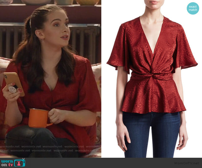 Alma Wrap Top by A.L.C. worn by Jane Sloan (Katie Stevens) on The Bold Type