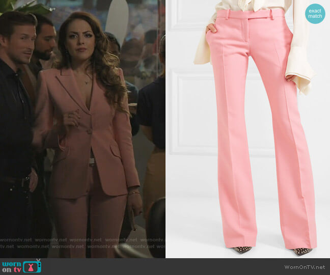 Flared Trousers by Alexander McQueen worn by Fallon Carrington (Elizabeth Gillies) on Dynasty