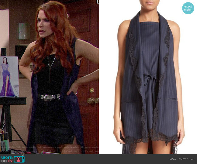 Alexander Wang Lace Trim Pinstripe Vest worn by Sally Spectra (Courtney Hope) on The Bold & the Beautiful