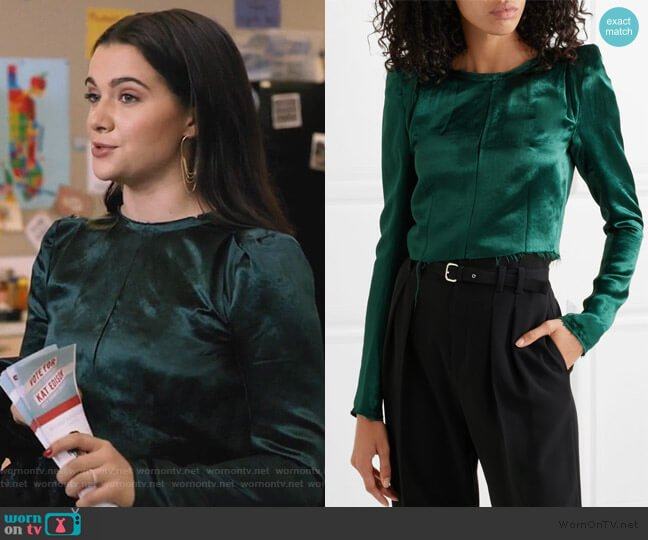 Cropped Frayed Satin Top by Ann Demeulemeester worn by Jane Sloan (Katie Stevens) on The Bold Type