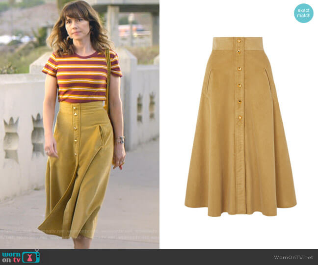 Liv Skirt by Anna Mason worn by Judy Hale (Linda Cardellini) on Dead to Me
