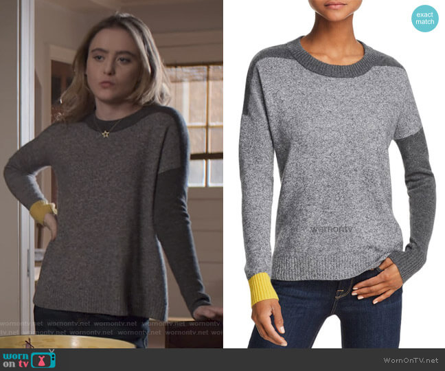 Color-Block Sweater by Aqua Cashmere worn by Allie Pressman (Kathryn Newton) on The Society