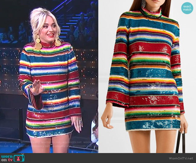 Striped Sequined Cotton Mini Dress by Ashish worn by Katy Perry  on American Idol