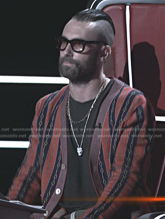 Adam Levine's horsebit print striped cardigan on The Voice