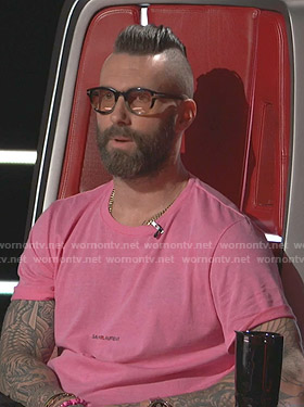 Adam Levine's pink Saint Laurent logo print tee on The Voice