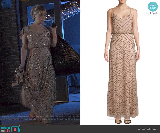 Embellished Blouson Long Dress by Adrianna Papell worn by Cassandra Pressman (Rachel Keller) on The Society