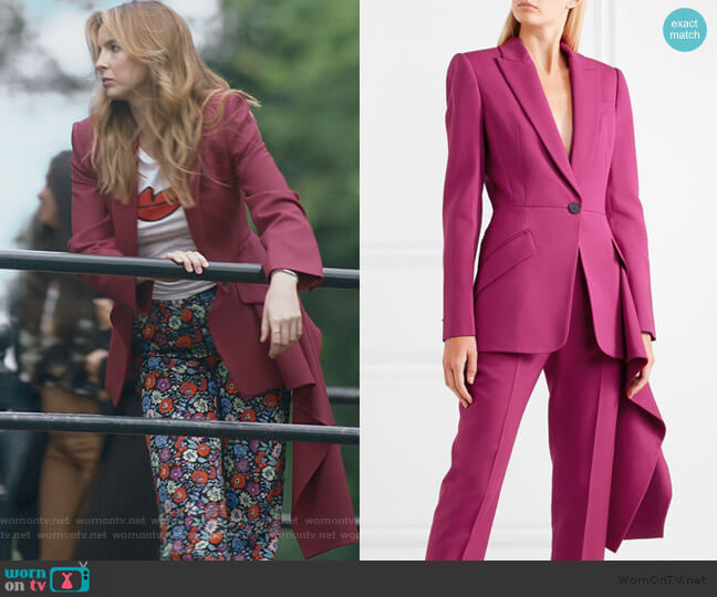 Asymmetric wool-blend blazer by Alexander McQueen worn by Villanelle (Jodie Comer) on Killing Eve
