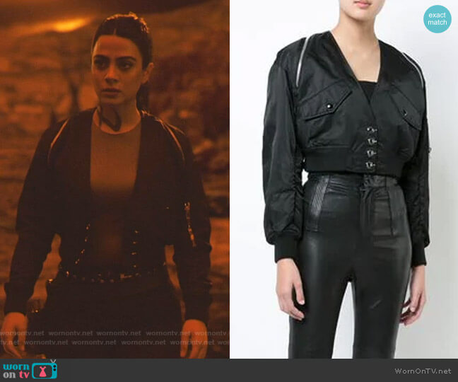V-Neck Cropped Bomber Jacket by Alexander Wang worn by Isabelle Lightwood (Emeraude Toubia ) on Shadowhunters