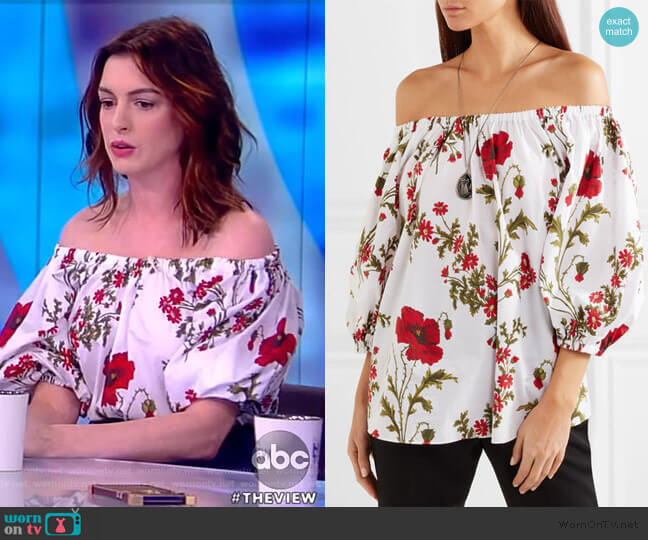 Off-the-shoulder floral-print top by Alexander McQueen worn by Anne Hathaway on The View