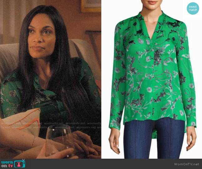 Alice + Olivia Amos Silk Tunic worn by Jane Ramos (Rosario Dawson) on Jane the Virgin