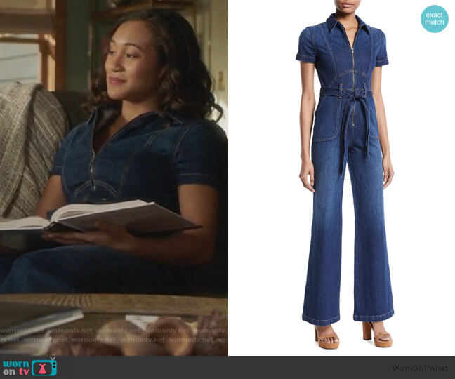 Gorgeous Denim Jumpsuit by Alice + Olivia worn by Caitlin Martell-Lewis (Sydney Park) on PLL The Perfectionists