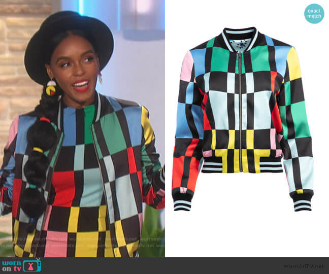 Lonnie Reversible Bomber by Alice + Olivia worn by Janelle Monae on The Talk