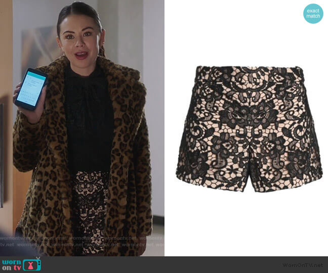 Marisa Guipure Lace Shorts by Alice + Olivia worn by Mona Vanderwaal (Janel Parrish) on PLL The Perfectionists