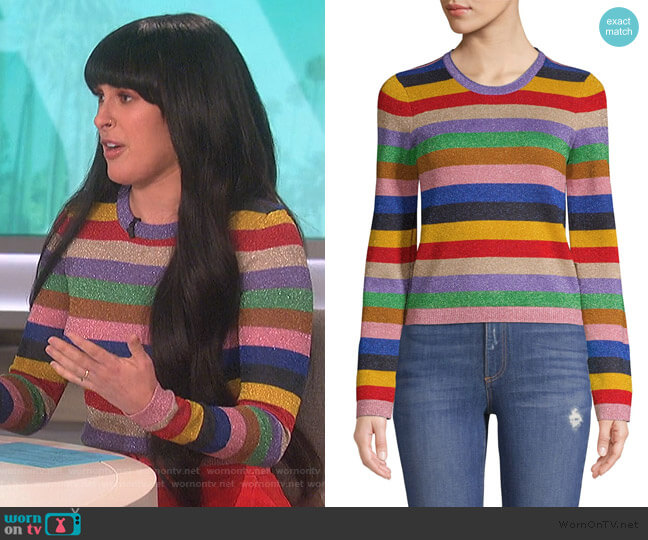 Rhodes Striped Pullover by Alice + Olivia worn by Rumer Willis on The Talk