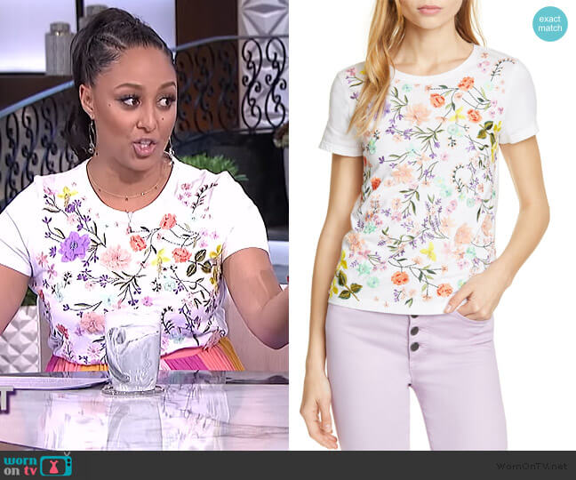 Rylyn Embroidered Tee by Alice + Olivia worn by Tamera Mowry  on The Real