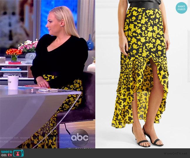 Sueann Silk Ruffle Midi Skirt by Alice + Olivia worn by Meghan McCain  on The View