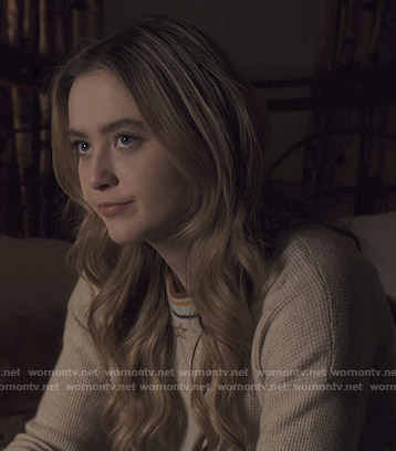 Allie's beige waffle sweater on The Society