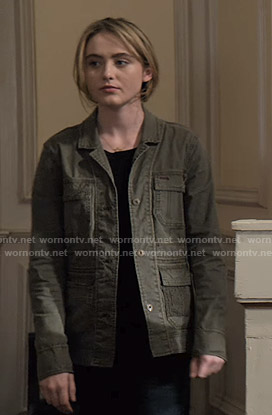 Allie's green utility jacket on The Society