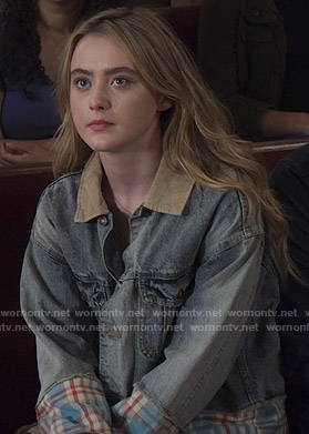 Allie's mixed denim jacket on The Society