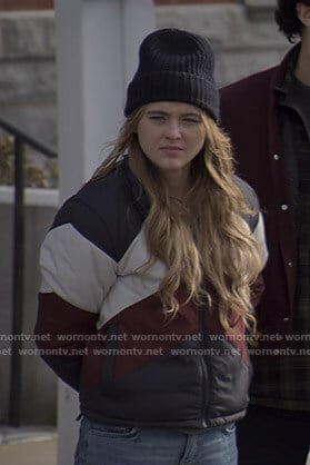 Allie's colorblock puffer jacket on The Society