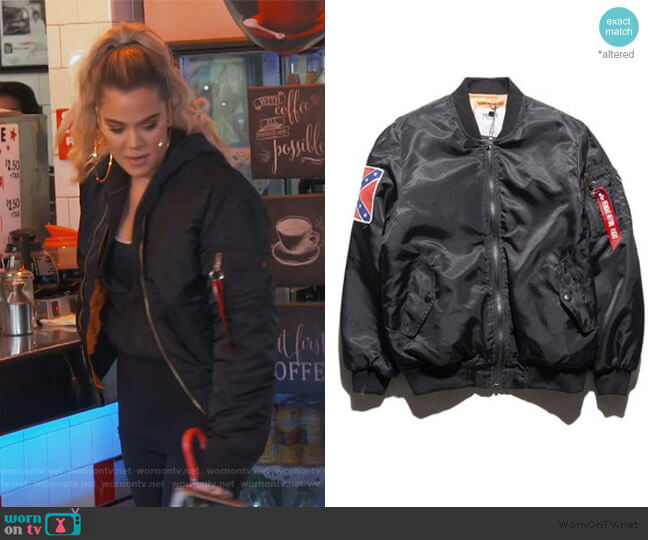Yeezy Tour MA-1 Bomber Jacket by Alpha Industries worn by Khloe Kardashian  on Keeping Up with the Kardashians