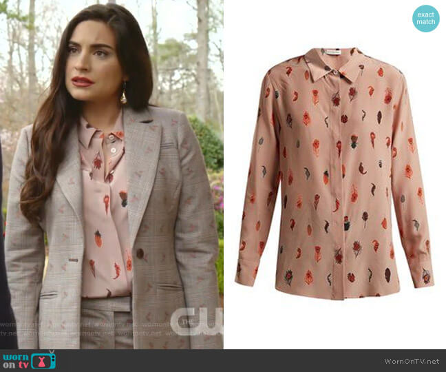 Chika peacock feather-Print Silk Blouse by Altuzarra worn by Cristal Jennings (Daniella Alonso) on Dynasty