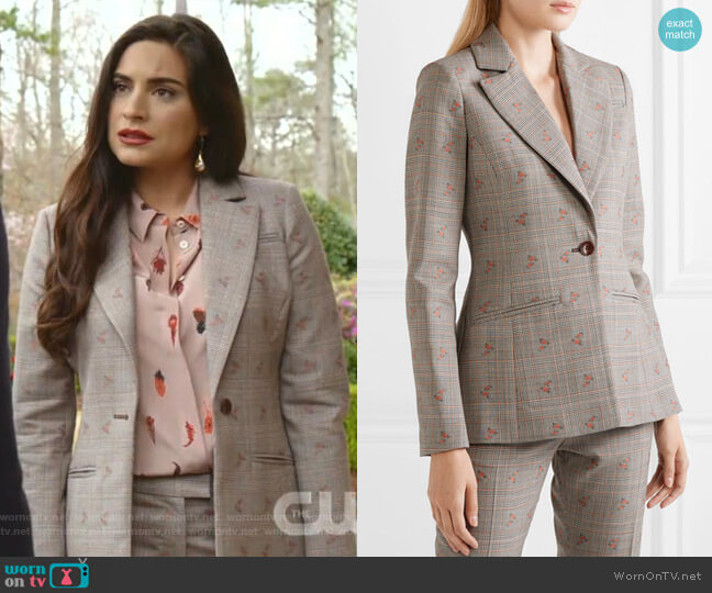 Embroidered Checked Blazer by Altuzarra worn by Cristal Jennings (Daniella Alonso) on Dynasty