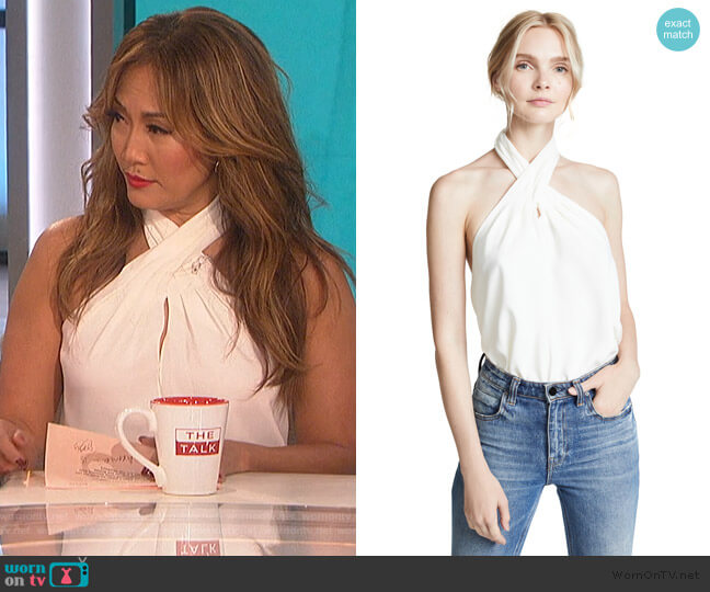 CrosBeckett Top by Amanda Uprichards Front Halter by Theory worn by Carrie Inaba  on The Talk