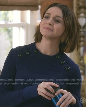 Amelia's blue button detail sweater on Grey's Anatomy