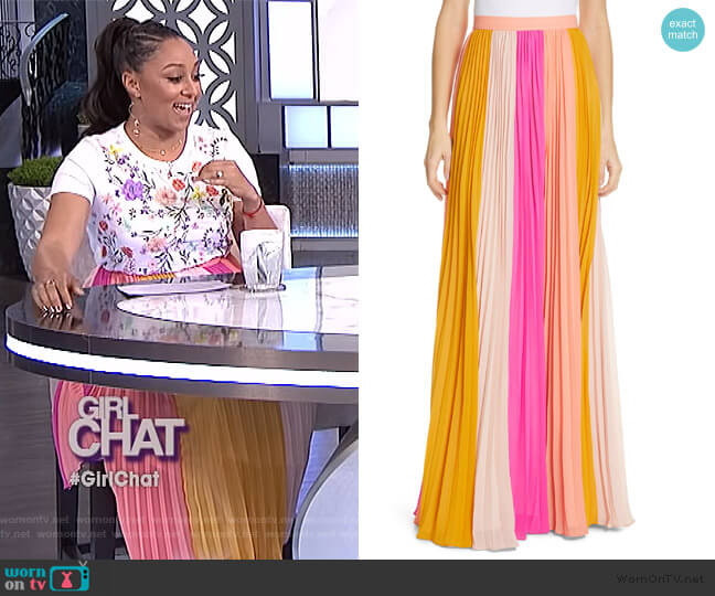 Abby Pleated Maxi Skirt by Amur worn by Tamera Mowry  on The Real