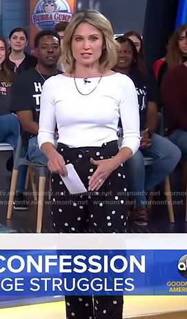 Amy's black polka dot pants on Good Morning America