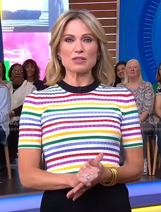 Amy's rainbow stripe top on Good Morning America