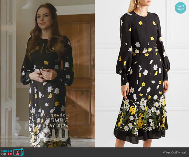 Belted Floral-Print Silk Midi Dress by Andrew Gn worn by Fallon Carrington (Elizabeth Gillies) on Dynasty