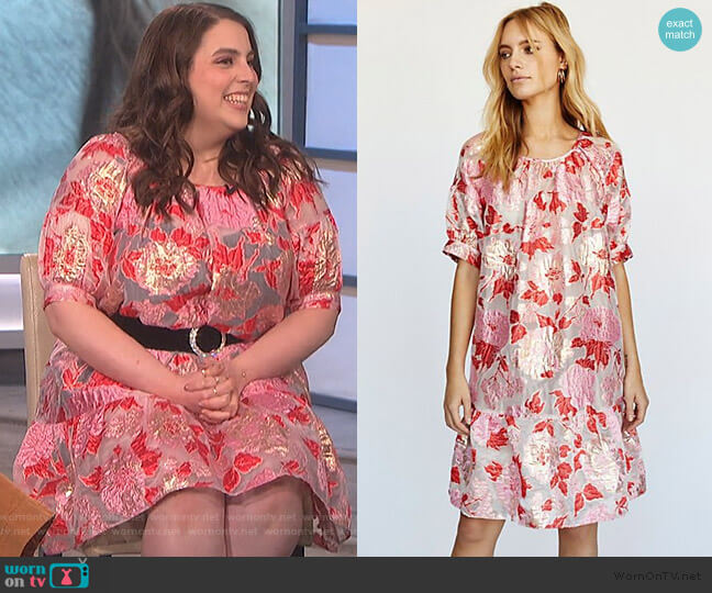 Stranger In Paradise Jacquard Dress by Anna Sui worn by Beanie Feldstein on The Talk