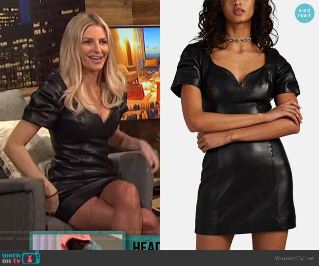 Leather Puff-Sleeve Minidress by Area worn by Morgan Stewart (Morgan Stewart) on E! News