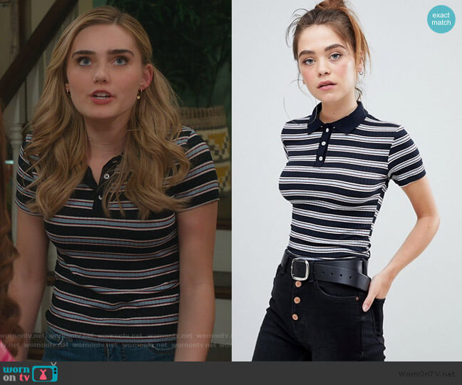 Bershka Button Striped ribbed t shirt by ASOS worn by Taylor Otto (Meg Donnelly) on American Housewife