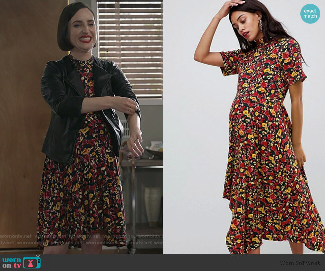 Maternity tea dress with asymmetric hem in floral print by ASOS worn by Jennifer Short (Zoe Lister-Jones) on Life in Pieces
