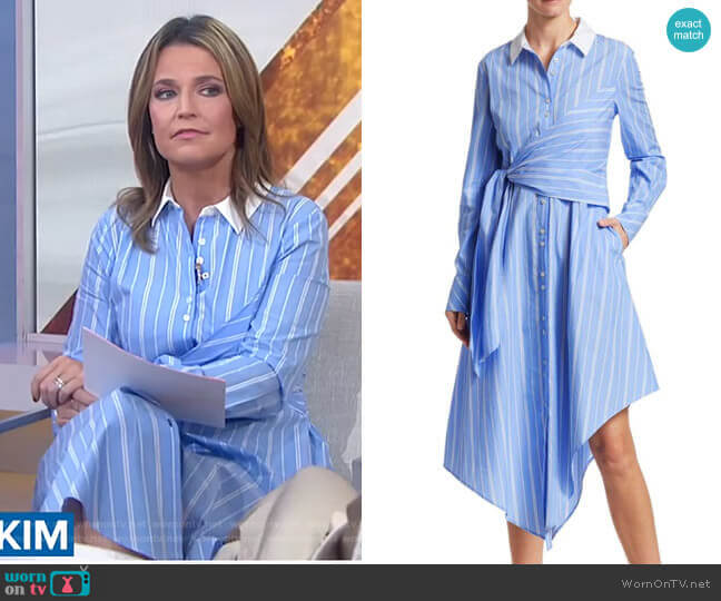 Asymmetric Oxford Wrap Dress by Jonathan Simkhai worn by Savannah Guthrie  on Today
