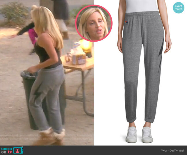 Bolt Sweatpants by Aviator Nation worn by Camille Grammer  on The Real Housewives of Beverly Hills