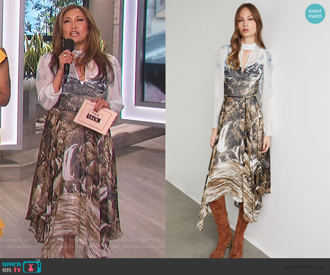 Abstract Landscape Handkerchief Dress by BCBGMAXAZRIA worn by Carrie Inaba  on The Talk