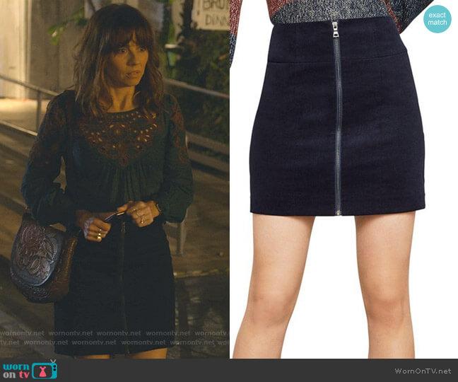 Zip-Front Corduroy Mini Skirt by Bcbgmaxazria worn by Judy Hale (Linda Cardellini) on Dead to Me
