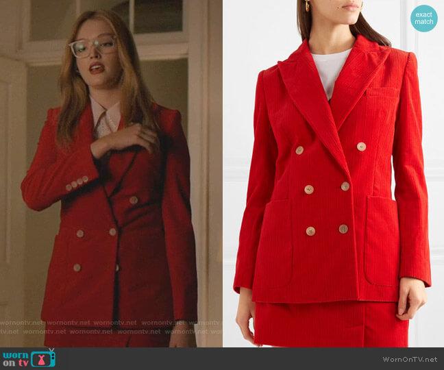 Bianca Blazer by Bella Freud worn by Kirby Anders (Maddison Brown) on Dynasty