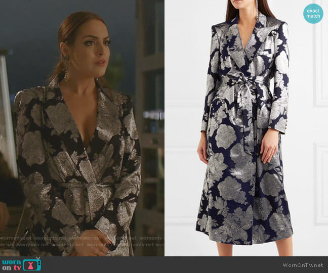 Double-Breasted Jacquard Midi Dress by Blaze Milano worn by Fallon Carrington (Elizabeth Gillies) on Dynasty