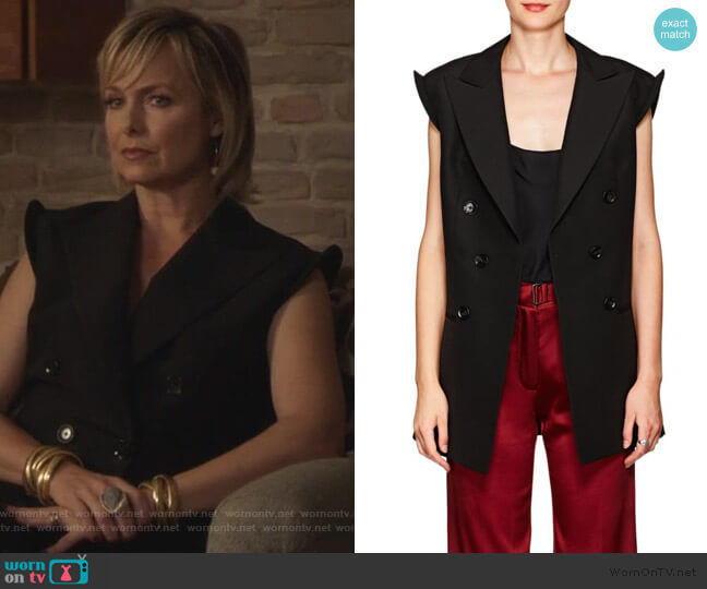 Double Breasted Silk Vest by Akira Naka worn by Jacqueline (Melora Hardin) on The Bold Type