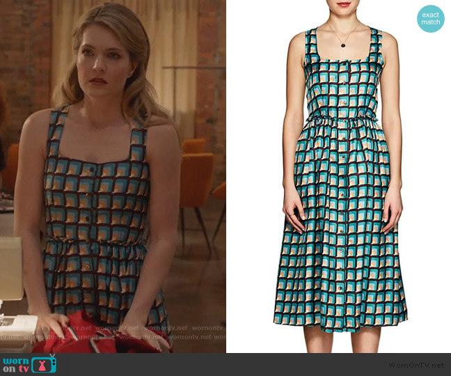 Geometric Print Silk Dress by Barneys New York worn by Sutton (Meghann Fahy) on The Bold Type
