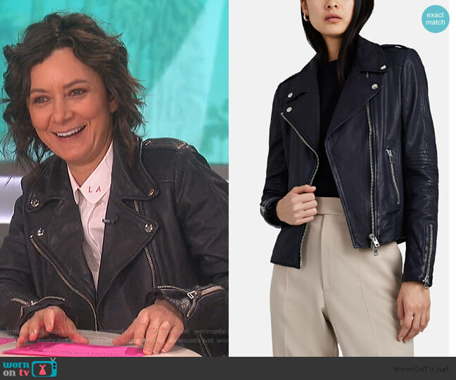 Leather Moto Jacket by Barneys New York worn by Sara Gilbert  on The Talk