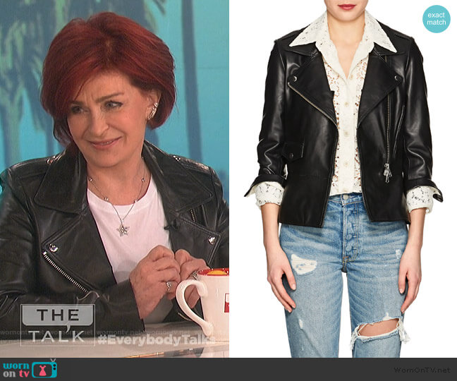 Leather Moto Jacket by Barneys New York worn by Sharon Osbourne  on The Talk