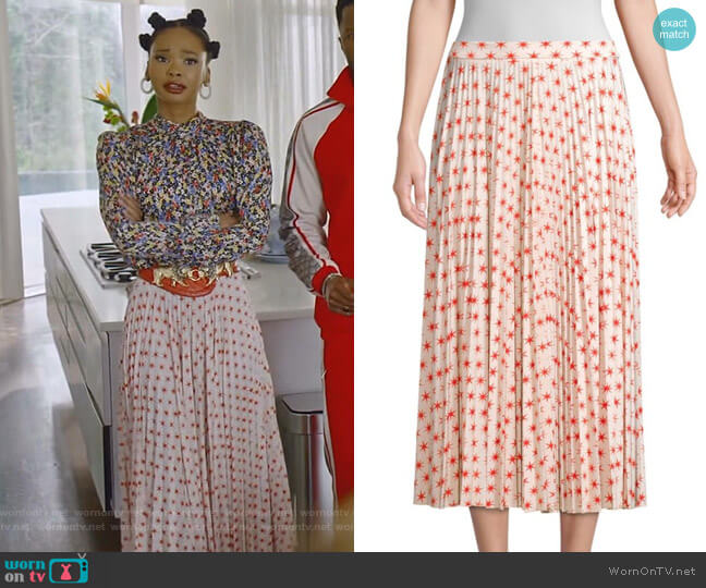 Star Print Pleated Skirt by Beatrice B worn by Monica Colby (Wakeema Hollis) on Dynasty
