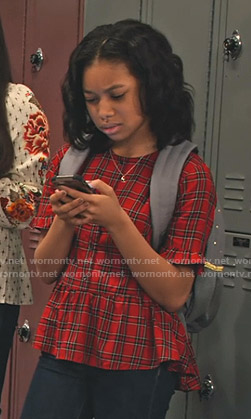 Becky's red plaid peplum top on No Good Nick